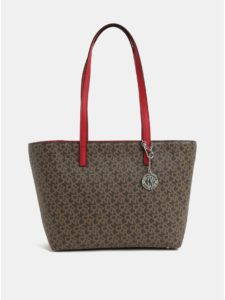 Červeno–hnedá kabelka s logom DKNY Bryant