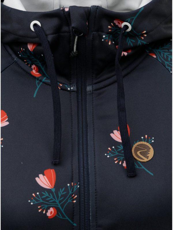 Tmavomodrá dámska kvetovaná funkčná tenká bunda s kapucňou Maloja Amalia 9b575d5423d