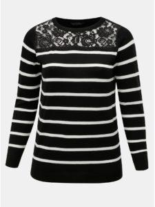 Bielo–čierny pruhovaný sveter s čipkovaným sedlom Dorothy Perkins Curve