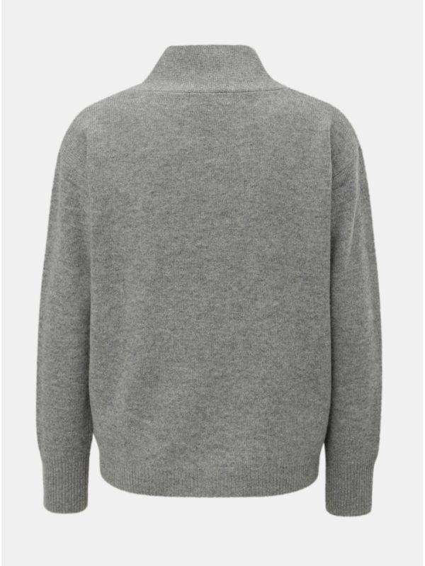c7357422dbb1 Sivý dámsky vlnený sveter s prekladaným detailom Maloja Torta