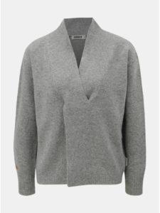 981887eedb12 Sivý dámsky vlnený sveter s prekladaným detailom Maloja Torta