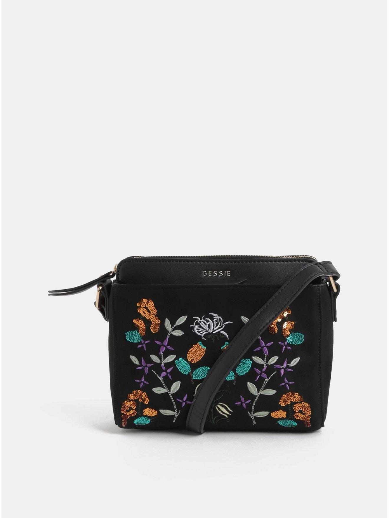 7d08420e89 Čierna crossbody kabelka s výšivkou a detailmi v semišovej úprave Bessie  London