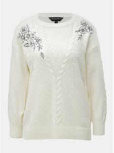 Krémový sveter s výšivkou kvetov Dorothy Perkins