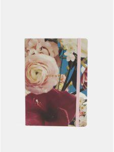 Vínovo–ružový kvetovaný týždenný diár A5 Chronicle Ashley Woodson