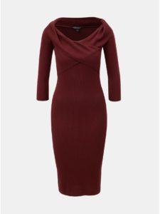 Vínové rebrované puzdrové šaty s lodičkovým výstrihom Dorothy Perkins