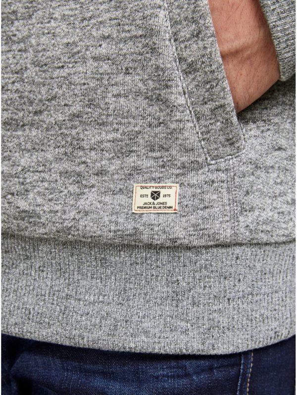 Sivá melírovaná mikina na zips so zateplenou podšívkou Jack & Jones Brent