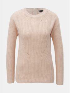 Svetloružový sveter so zipsom na chrbte Dorothy Perkins