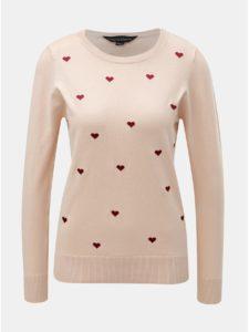 Svetloružový sveter s výšivkou sŕdc Dorothy Perkins