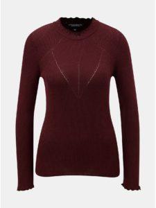 Vínový rebrovaný sveter s ozdobnými lemami Dorothy Perkins