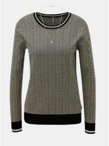 Béžovo–čierny tenký vzorovaný sveter s retiazkou Scotch & Soda
