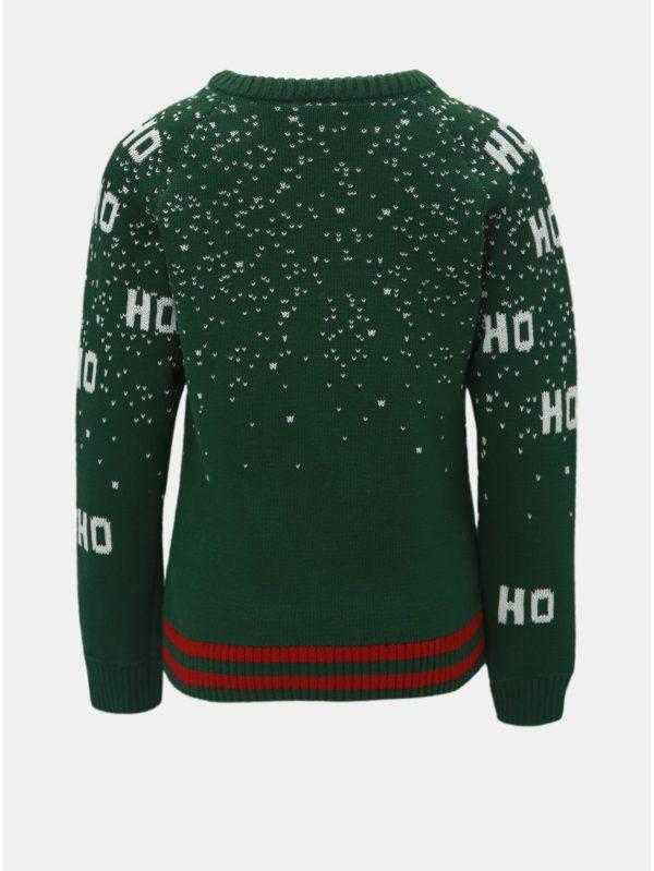 Tmavozelený chlapčenský sveter s motívom Mikuláša Name it