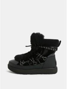 Čierne nepremokavé kožené zimné topánky s umelou kožušinkou UGG Highland