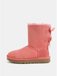 Ružové semišové zimné topánky s vnútornou kožušinkou UGG Bailey Bow
