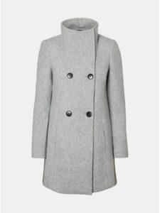 Svetlosivý melírovaný kabát s prímesou vlny VERO MODA Line