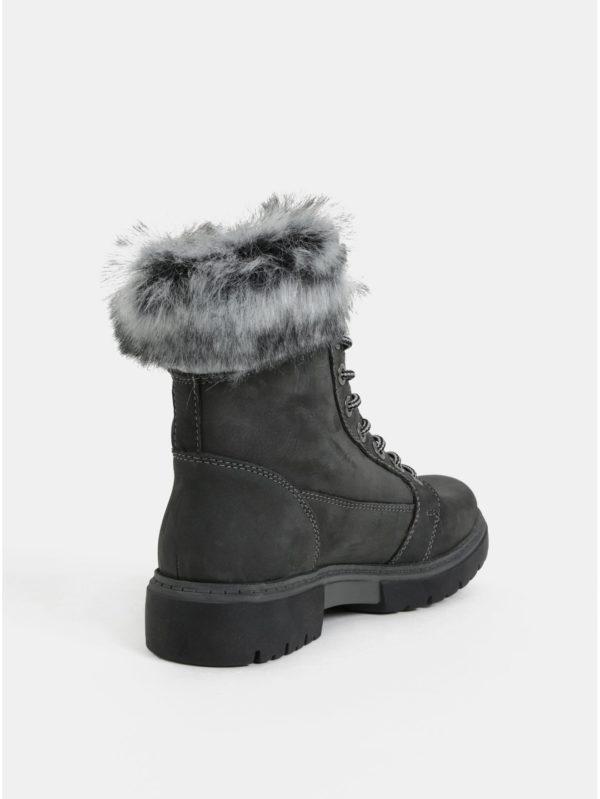 471b2a9a4 Sivé dámske zimné kožené členkové topánky s umelou kožušinkou Weinbrenner