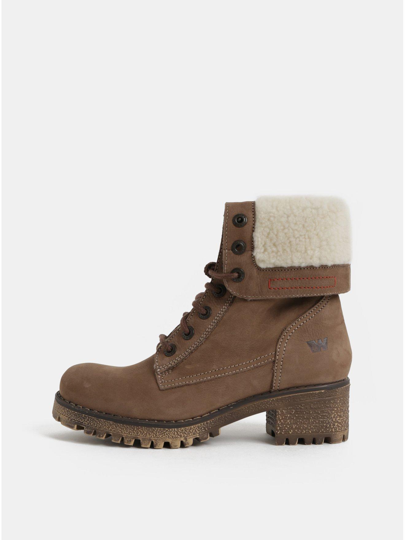 1b7b6a4cd27e9 Hnedé dámske kožené členkové zimné topánky na podpätku Weinbrenner ...