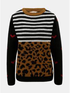 Hnedo–čierny vzorovaný vlnený sveter Femi Stories