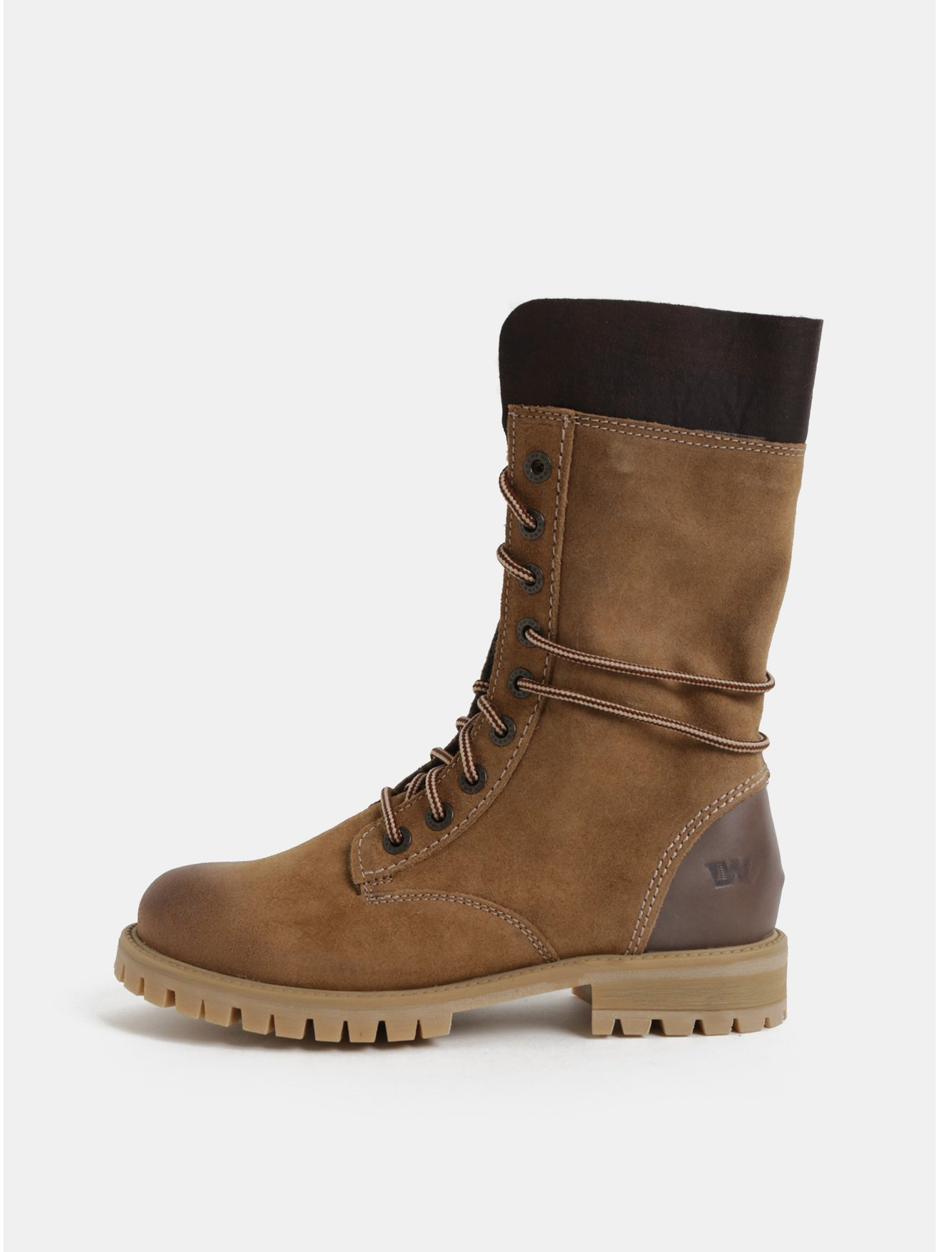 8b277c3741 Hnedé dámske semišové členkové zimné topánky so šnurovaním Weinbrenner