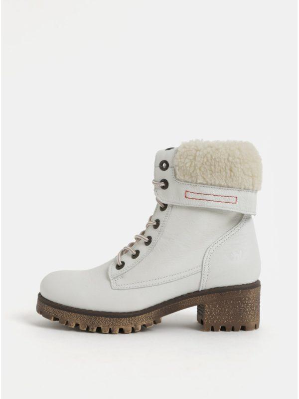 Biele dámske kožené členkové zimné topánky na podpätku Weinbrenner