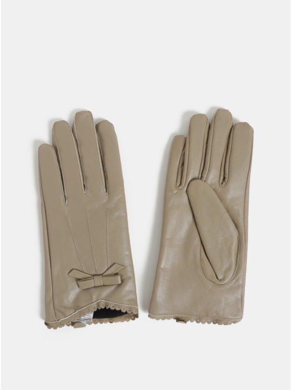 Béžové kožené rukavice v darčekovom balení Something Special
