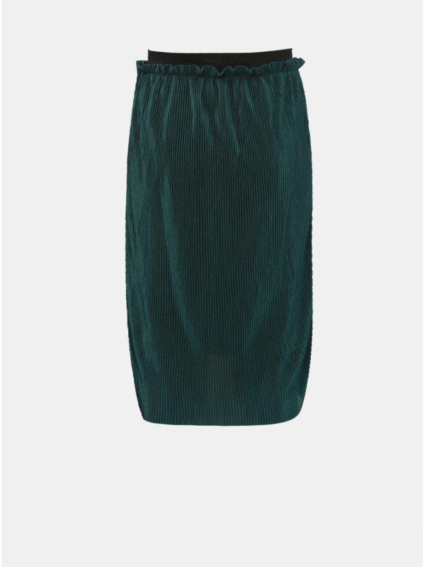 Tmavozelená dievčenská lesklá plisovaná sukňa LIMITED by name it