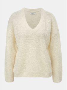 Krémový sveter s véčkovým výstrihom Jacqueline de Yong Knit