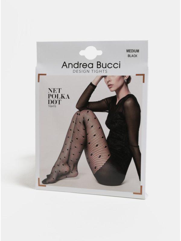Čierne sieťované silonky Andrea Bucci Net Polka Dots