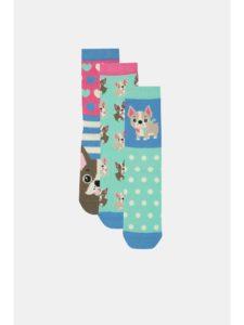 Balenie troch ponožiek v ružovo–modrej farbe s motívom psov Oddsocks Lucy