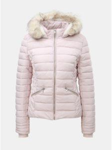 Svetloružová prešívaná zimná bunda s umelou kožušinkou TALLY WEiJL 3d2e3df451f