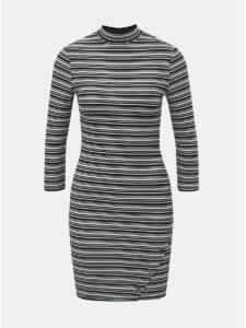 Bielo–čierne pruhované puzdrové šaty s 3/4 rukávom TALLY WEiJL