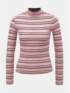 Ružové pruhované tričko so stojačikom TALLY WEiJL