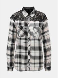 Bielo–čierna károvaná košeľa s čipkou na ramenách TALLY WEiJL