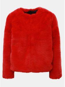 d99a0e4c1ce3 Červený krátky kabát z umelej kožušinky TALLY WEiJL