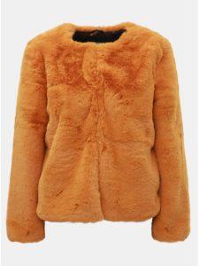 Horčicový krátky kabát z umelej kožušinky TALLY WEiJL 0cbbc6924ca