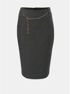 Tmavosivá vzorovaná puzdrová sukňa s retiazkou v zlatej farbe Dorothy Perkins