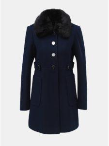 Tmavomodrý kabát s odnímateľným golierom z umelej kožušinky Dorothy Perkins