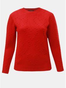 Červený sveter s plastickým vzorom srdiečok Dorothy Perkins Curve