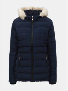 Tmavomodrá prešívaná zimná bunda s umelou kožušinkou Dorothy Perkins