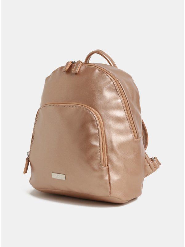 Ružovozlatý koženkový batoh s metalickými odleskami a predným vreckom ZOOT 9ab61ebf7f5