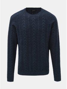 Tmavomodrý vlnený sveter s okrúhlym výstrihom Selected Homme Bravo