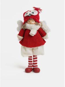 Bielo–červená vianočná figúrka s krídlami a čiapkou v tvare sovy Kaemingk