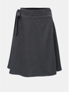 Tmavosivá zavinovacia sukňa s prímesou kašmíru a so skladmi v zadnej časti La femme MiMi