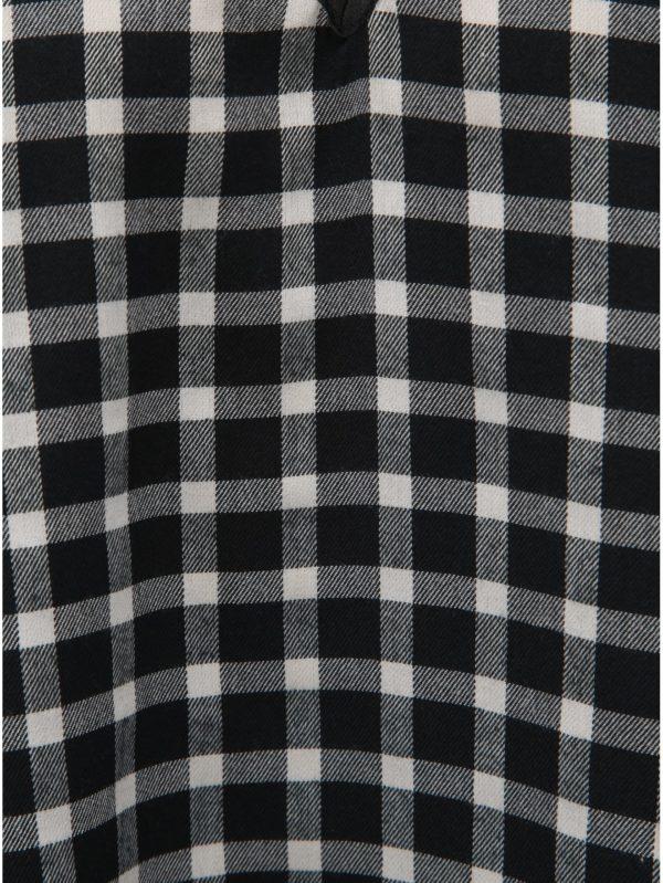 Bielo–čierna kockovaná voľná vlnená blúzka s véčkovým výstrihom La femme MiMi