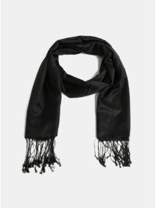 Čierna hodvábna šatka so strapcami La femme MiMi