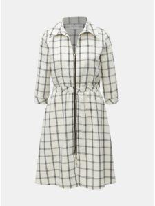 Čierno–krémové kockované šaty s gumou v páse a 3/4 rukávom SEVERANKA