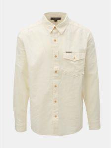 e2afe10f9 Krémová pánska ľanová košeľa s náprsným vreckom BUSHMAN Trafalgar