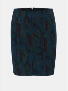 Zeleno–modrá vzorovaná puzdrová sukňa SEVERANKA