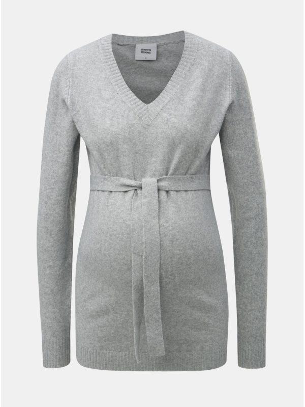 Svetlosivý tehotenský tenký sveter s opaskom Mama.licious