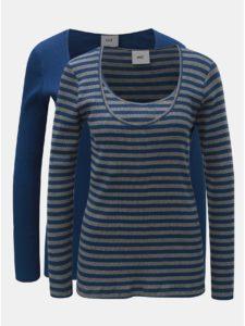 Balenie dvoch tričiek vhodných na dojčenie s dlhým rukávom v sivo–modrej farbe Mama.licious
