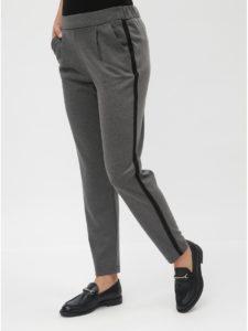 Sivé kostýmové nohavice s vysokým pásom VERO MODA Jana Kelly
